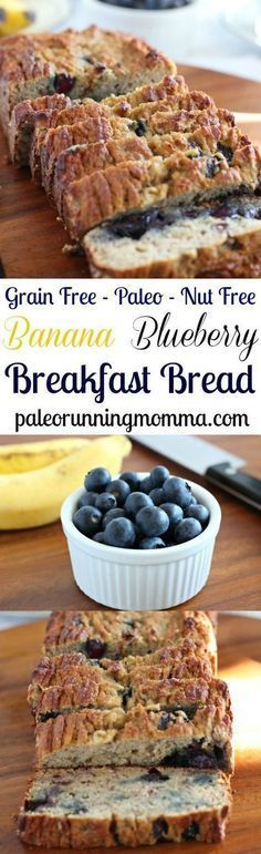 Gluten free and Paleo Banana Blueberry Breakfast Bread that's perfectly soft and moist with lots of natural sweetness! http://www.paleorunningmomma.com/banana-blueberry-breakfast-bread-paleo-nut-free/