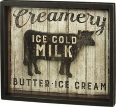 "- Distressed, weathered farmhouse sign brings a bit of yesteryear to your farm or barnwood décor - Sign reads ""Creamery"" above / ""Butter - Ice Cream"" below a cutout of a cow that floats on a distresse"