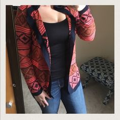 •Coral & Navy Aztec print cardigan• 95% polyester, 5%cotton. Only size S or L left.  Brand new! Cozy cardigan features an all over Aztec print and open front. Comment with what size you would like, I can make a separate listing for you. *Please do not purchase this listing* So cute on  Hem & thread Sweaters Cardigans