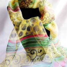 """Etole écharpe foulard en mousseline de soie peint main multicolore """" voyage en inde """""""
