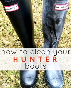 How to clean your Hunter rain boots to remove white bloom the easy and cheap way. http://www.thesouthernthing.com/2014/11/how-to-clean-your-hunter-boots-remove.html #hunter #diy