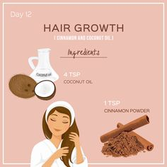 MASK 12 for HAIR GROWTH ! . INGREDIENTS: 4 tsp Coconut Oil 1 tsp Cinnamon powder . METHOD: Step 1: Mix well and leave the mixture for an hour before applying. Step 2: Massage the scalp for 15-20 minutes and leave the mask for at least an hour. Step 3: Shampoo as usual. . . #skincarechallenge #14daystoglow #hairgrowthtips #diyhairmask Hair Mask For Growth, Hair Growth Treatment, Hair Growth Tips, Natural Hair Growth, Natural Hair Styles, Mixed Hair Care, Black Hair Care, Coconut Oil Hair Growth, Coconut Oil Hair Mask