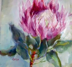 Two little protea pics Abstract Flowers, Watercolor Flowers, Watercolor Paintings, Oil Paintings, Watercolours, Protea Art, Protea Flower, King Art, Art Corner