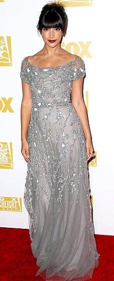 Hannah Simone in Naeem Khan at the 2013 Fox Golden Globe Awards Party