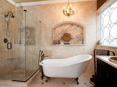 It's OK to splurge on one or two items in your bathroom as long as you look for ways to save in other areas. RMR user KarenSpirit saved money on her bathroom remodel by purchasing a slightly damaged claw foot tub for $90 and a $900 vanity on eBay. This allowed her to splurge on seamless shower doors, which make the room feel spacious and luxurious.