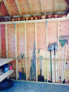 Garden shed interior. Took storage with a fat rope. Garden shed interior. Took storage with a fat rope. Storage Shed Organization, Garden Tool Storage, Garden Tools, Garden Sheds, Storage Sheds, Diy Garden, Storage Shed Interior Ideas, Garage Storage, Zen Rock Garden