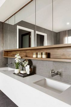 17 Small Toilet Concepts & Design your Inspiration [TREND for bathroom vanity double sinks 17 small bathroom ideas design your inspiration trend 2019 Farmhouse Bathroom Mirrors, Bathroom Mirror Design, Modern Bathroom Design, Bathroom Interior Design, Small Bathroom, Bathroom Ideas, Bathroom Storage, Bath Design, Zen Bathroom