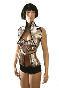 apocalyptic bolero sci fi robot futuristic short waistcoat   cybergoth armor by Divamp Couture