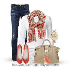 """""""Coral Casual"""" by uniqueimage on Polyvore"""
