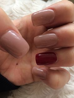 Nude nails with burgundy index finger!