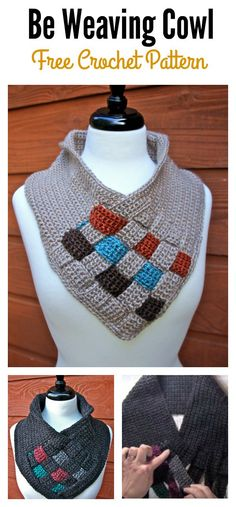 A crochet cowl is the perfect accessory for showing off your style. This Be Weaving Cowl Free Crochet Pattern combines both weaving and crochet to make it very unique. Unique Crochet, Love Crochet, Diy Crochet, Crochet Hooks, Crochet Scarves, Crochet Shawl, Crochet Clothes, Knitting Patterns, Crochet Patterns