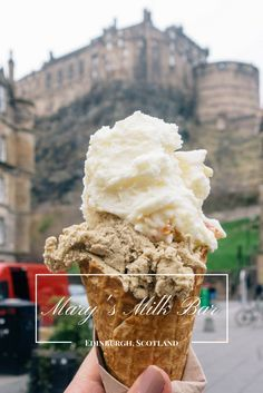 Discover Mary's Milk Bar, the best independent ice cream shop in Edinburgh, Scotland with on The Grassmarket with stunning castle views.