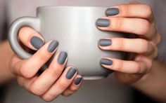 A manicure is a cosmetic elegance therapy for the finger nails and hands. A manicure could deal with just the hands, just the nails, or Grey Matte Nails, Grey Nail Polish, Nail Polish Hacks, Nail Tips, Nail Hacks, Essie Polish, Slate Nails, Dark Grey Nails, Nail Polishes