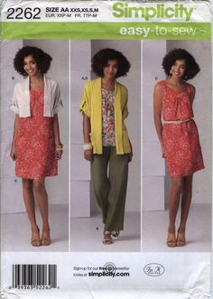 Simplicity 2262 Misses' Pullover Dress or Tunic, Pull On Pants and Knit Cardigan in Two Lengths