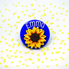 A handmade, personalised sunflower name badge Name Badges, Colorful Pictures, Colorful Backgrounds, Bunny, Handmade, Colorized Photos, Badges, Name Labels