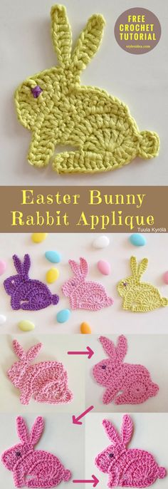 "#EasterBunny Rabbit #CrochetApplique [Free Tutorial] An easy and understandable tutorial which show you how to make this gorgeous Easter decor, applique to tablecloths, blankets, dress etc. Crochet → Applique / Motif| size: 3,5"" (9 cm) high 