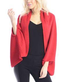 Look at this #zulilyfind! Red Cape-Sleeve Open Cardigan #zulilyfinds