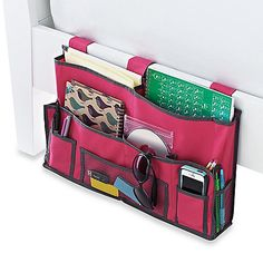 "Bedside Storage Caddy At Bed Bath & Beyond - 22""W x 10""D x 10""H, 5 pockets, comes in black, $15                                                                                                                                                                                 More"
