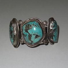 Vintage 3-Pierre Kingman Navajo Sterling Turquoise Bracelet manchette circa 1960