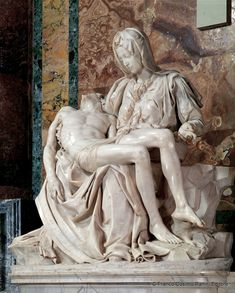 Notice the detail of proportion and her hands and the young beautiful face of Mary, who holds her son she is Mother and disciple of the word incarnate Michelangelo Pieta, Michelangelo Sculpture, La Pieta, Famous Sculptures, Greek Mythology Art, Catholic Art, Classical Art, Renaissance Art, Art History