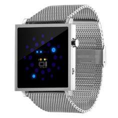 Gamma Ray GRM102B2 Reloj 01The One. Original diseño con leds azules. Indica la fecha y la hora. Caja de acero inoxidable, cristal mineral endurecido, correa de acero inoxidable, resistente a 3 ATM. Estuche 01The One incluido.   Dos años de garantía Dimensiones (sin la correa): 40,50 mm x 40,50 mm x 8,25 mm