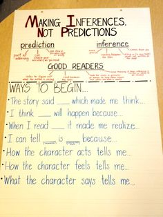 (Anchor Charts) Differences between Inference and Prediction. Excellent to use when introducing inferences. Students can tell what they know about predictions, and then learn about how inferenceing is different. Reading Lessons, Reading Strategies, Reading Skills, Teaching Reading, Reading Comprehension, Comprehension Strategies, Guided Reading, Math Lessons, Poetry Lessons
