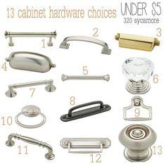 13 Cabinet Hardware Knobs Handle Choices Under $5   320 * Sycamore Kitchen  Knobs, Kitchen
