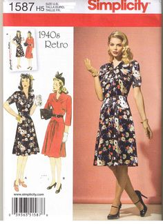 Vintage 40s Retro Dress Gathered V Neck Simplicity Sewing Pattern 14 16 18 20 22 #Simplicity #MissesPlus