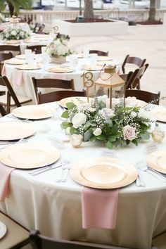 Center pieces by Iza's Round Table Decor Wedding, Table Centre Pieces Wedding, Round Table Centerpieces, Wedding Table Centres, Lantern Centerpiece Wedding, Simple Wedding Centerpieces, Bridal Shower Centerpieces, Wedding Reception Tables, Wedding Table Settings
