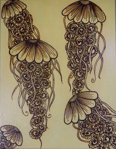 Jellyfish, Acrylic Mixed Media Painting with Henna Design, Unique, OOAK, Global Art Henna Mehndi, Henna Art, Tattoos Mandalas, Mehndi Designs, Tattoo Designs, Marquesan Tattoos, Tattoo Removal, Hippie Art, Henna Patterns