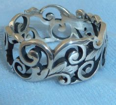 Vintage Sterling Victorian Style Ring Scroll Motif Sizes 7.5, 9 &10, Konder #567