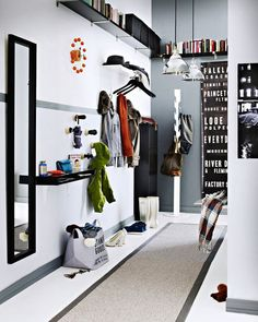 Corridor - Add mirror, long shelves and some hooks!