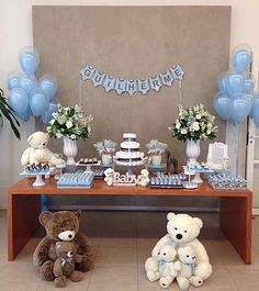 Decoration for a perfect baby shower. Baby Shower Brunch, Baby Shower Parties, Baby Shower Themes, Baby Boy Shower, Chabi Chic, Baby Tea, Shower Bebe, Baby Decor, Holidays And Events