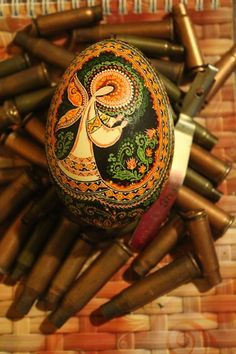 Oleh Kirashchuk Grand Master Pysankar, from Ukraine fighting on the front line, his latest pysanka 'My Guardian Angel'