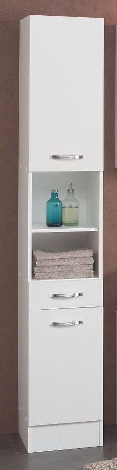 Badezimmer Hochschrank mit Spiegel Hochglanz Weiß Jetzt bestellen
