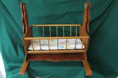 Vintage Wooden Rocking Doll Cradle,baby Doll Wood Cradle,doll Crib With…