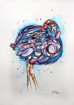 tattoo style pukeko watercolour/illustration painting by www.fiona-clarke.com