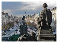"Wenceslas square and ""Velvet Revolution"" memorial, Prague - see you in May!"