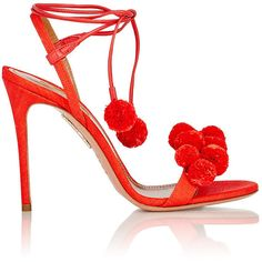 "Aquazzura Women's ""Pom Pom"" Ankle-Tie Sandals (1 115 AUD) ❤ liked on Polyvore featuring shoes, sandals, heels, red, woven leather sandals, braided leather sandals, ankle strap sandals, red heel sandals and leather sandals"