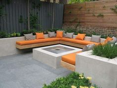 Chill out garden 4 copyright Charlotte Rowe Garden Design Charlotte Rowe - courtyard garden with bui Outdoor Fire, Outdoor Seating, Outdoor Spaces, Outdoor Living, Outdoor Decor, Outdoor Sheds, Outdoor Lounge, Built In Garden Seating, Built In Bench