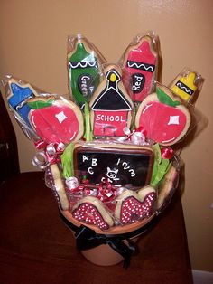 Teacher Cookie Bouquet...so adorable, love the crayons!