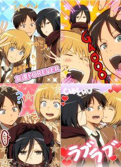 - Armin x Eren x Mikasa .