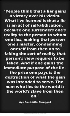 Ayn Rand on the lie trap