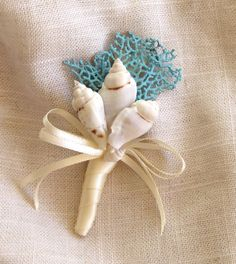 Beach Wedding Seashell Boutonniere with Natural Sea Fan - Choose from 14 Ribbon Colors - Lapel Pin Nautical Sea Shell