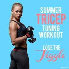 """Summer Tricep Toning Workout--This workout will get rid of that extra """"jiggle"""" around the underarm by getting rid of stubborn fat and sculpting sleek muscles! #triceps #skinnyms #strength"""