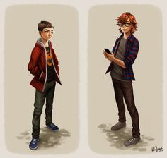 Aaron and David Full Body Portraits by ~Zippora on deviantART