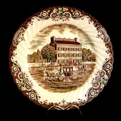 Set/4 JOHNSON BROTHERS Heritage Hall DINNER PLATES Ironstone England 4411 Estate #JohnsonBrothers