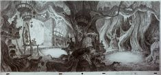 "Background concept for Disney's  ""The Black Cauldron"" by   Mike Hodgson (1983)"