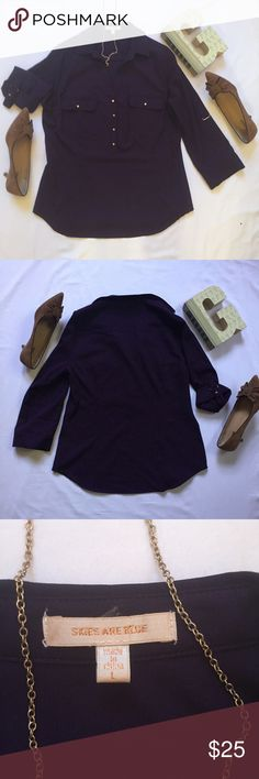 """Stitch Fix Dark Purple Roll Sleeve Button Down NWOT Dark Purple Roll Sleeve Buttondown Stitch Fix size L  Stitch Fix brand Skies are Blue  Gold buttons and roll sleeve hardware  21"""" inches across the chest from sleeve to sleeve, 27"""" from top to bottom  Feel free to make me an offer! Skies Are Blue Tops Button Down Shirts"""