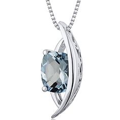 Intricate 125 carats Radiant Checkerboard Cut Sterling Silver Rhodium Finish Aquamarine Pendant >>> Want additional info? Click on the image. (This is an affiliate link and I receive a commission for the sales)